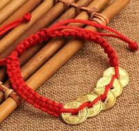 FD4601 Feng Shui Red String Lucky Coin Charm Bracelet for Good Luck & Wealth