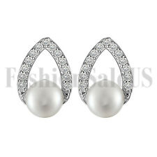 2pcs 925 Sterling Silver Genuine Freshwater 5.5mm Pearl Stud Earrings for Bridal