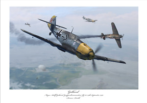 BATTLE OF BRITAIN FIGHTER ACE GALLAND BF109E JG26 LIMITED EDITION SIGNED PRINT