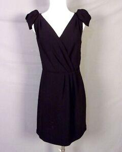 euc Ann Taylor LOFT Criss Cross Little Black Dress Scalloped Cap Sleeve sz 4