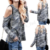 UK 8-24 Womens Cold Off Shoulder Camo Military T Shirt Casual Loose Tops Blouse