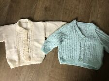 hand knitted handmade green and cream baby cardigans age 0-6 months