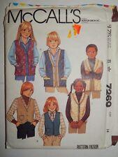 McCALLS 7269 Vest Vest Girls Boys Size 14 Quilted Denim VTG Sewing Pattern UC FF
