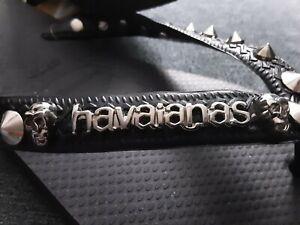 Havaianas Silver Metal Logo Skull Flip Flops Thongs - 1 LEFT(35-36 @ 24cm)