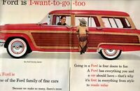 1956 2 PAGE ORIGINAL VINTAGE FORD CAR MAGAZINE AD