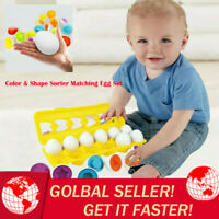 Color & Shape Sorter Matching Egg Educational Studying Doll Kids Gift 12Pc