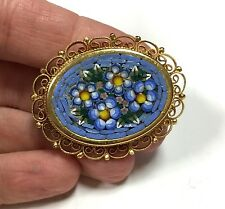 Vtg Italy Oval Micro Mosaic Brooch Pin Blue Yellow Flowers Gold Plated DD163q