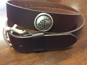 Men's Brown Genuine Leather Belt with Washington State University Conchos 42 RLE