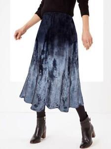 M&S - Per Una Blue/Grey Velvet Ombré Skirt - Size 8,10,14,  (BNWOT)