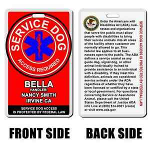 Service Dog Ascleplus RED Badge ID CARD Dog custom info dog cat personalized