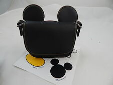 Disney Mickey Mouse Ears Patricia Leather Saddle Bag by COACH - Black