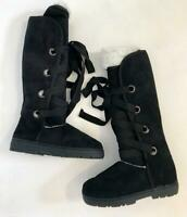 Womens nomad size 7 style lace up boots black tread rubber sole shoes winter