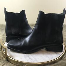 Cole Haan Women's Sz 9 M Black Leather Block Heel Pull On Ankle Boots Booties