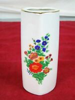 "PORCELAIN COLLECTIBLE VASE FLORAL  WITH GOLD TRIM HEART SHAPED 5"" TALL"