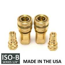"2 Sets 1/8"" ISO-B Hydraulic Hose Quick Disconnect Coupler Brass - (ISO 7241-1 B)"