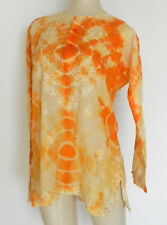 Tie-Dye Tunic Top Light Weight Long Sleeve Slit Sides Loose Fit Size L
