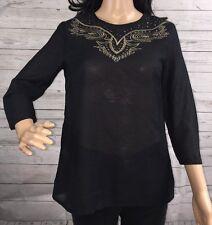 MNG Blouse XS Semi-Sheer Black 3/4 Sleeve Blouson Isabel Design Shirt Brand New