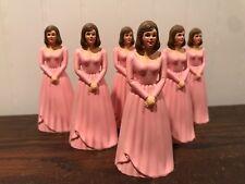 6 Vintage Bridesmaid Pink Dress Cake Topper Cake Decoration Lot # 20