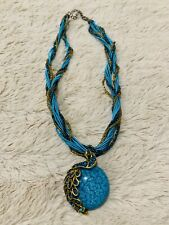 Retro peacock gemstone beads pendent Necklace chain for Women