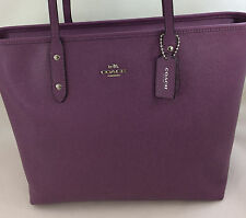 New Coach F57522 Crossgain Leather City Zip Tote Handbag Purse Bag Mauve Purple