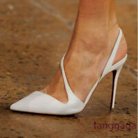 2019 White Pointed Toe Stiletto High Heels Slingback Pumps Sandal Women Shoe