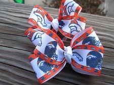 """Hair Bows Two Medium 2"""" Broncos Football Grosgrain ribbon hair bows USA"""