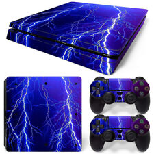 PS4 Slim Skin Console & 2 Controllers Thunder Lightning Decal Vinyl Wrap Sticker