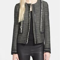 Vince Fringe Trim Boucle Jacket Tweed Blazer Black White Lamb Leather Size 10