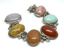 "Southwest Whitney Kelly Sterling Silver Natural Stones 7.25"" Link Bracelet - 63g"