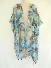 Floral Cover Up Open Sheer Wrap Top Blouse Ruana Beach Kimono One Size Blue