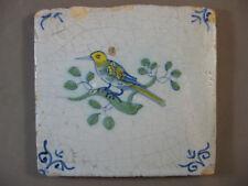 polychrome Antique Dutch tile animal bird rare 17th century- free shipping