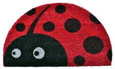 """Door Mats - Ladybug Demilune Coir Doormat - 18"""" X 30"""" - Vinyl Back Coir Door Mat"""