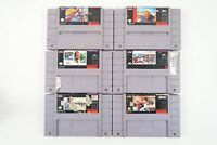 Lot of 6 Authentic Super Nintendo Entertainment System SNES Game Carts - Sports