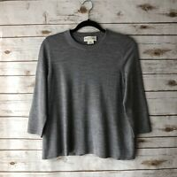 Kate Spade Broome Street Women Medium Gray Merino Wool Crewneck Pullover Sweater
