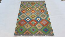 5'x3'6 Hand-Woven Traditional Afghan Kilim Area Rug Wool Kelim Tapis Carpet 8527