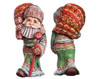 """Woode Hand carved Santa Claus Figurine 8"""" Father Frost Christmas decorations"""