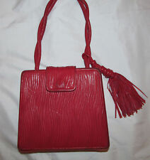 vintage BALLY bright red leather crinkle gathered artsy box style tassel bag