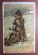 Old Russian postcard 1906 RED CROSS E. Bem + Pushkin poem BOY sleigh frost Dog