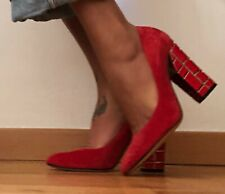 CASADEI RED SUEDE with Unique heel detailing  SZ US 7, UK 4, EU 37