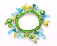 LIVELY STRETCHY GREEN KNIT BRACELET WITH LOVELY BLUE GLASS BEAD CHARMS (ZX47)