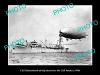 OLD POSTCARD SIZE PHOTO OF NAVY USS SHENANDOAH AIRSHIP WITH USS PATOKA c1930s