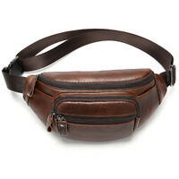 1X Coffee Small Mens Real Cow Leather Waist Pack Sports Crossbody Messenger Bag