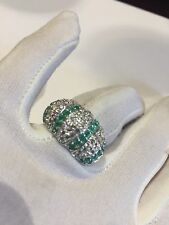 Vintage Genuine Green Emerald Real 925 Sterling Silver Size 8 Ring