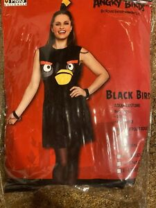Halloween Adult Angry Bird Black Dress w/ Design Feather-look Accent Size Small