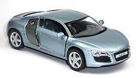 NEU: Audi R8 Sportwagen Sammlermodell 1:36 stahlblau metallic Neuware KINSMART