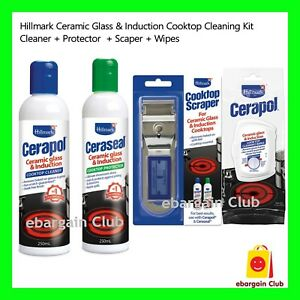 Hillmark Ceramic Glass Induction Cooktop Cleaning - Scraper Cleaner Sealer Wipes