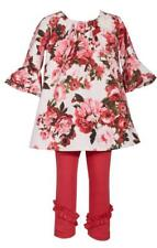Bonnie Jean Bell Sleeve Floral Print Shift Dress and Red Legging Pants Set