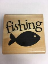 "Rubber Wood Stamp ""FISHING"" Fish Stamp"