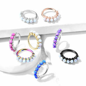 1pc Bendable 7 Opal Hoop Ring Nose Eyebrow Cartilage Rook Daith Helix Tragus
