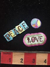 3 Piece PEACE & LOVE (tiny peace sign) Patch Bling Decoration! 76V4